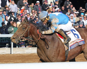 Brody's Cause winning the Bluegrass Stakes at Keeneland (Photo by Coady Photography)