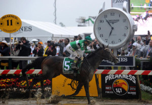 Exaggerator wins the Preakness Stakes (Photo by Diane Bondareff/AP Images for Longines)