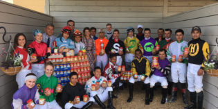 Jockeys donate 365 pounds of peanut butter to veterans at Indiana Grand