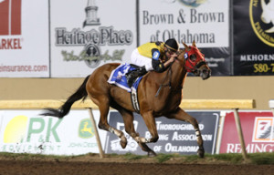 Texas-bred Ivan Fallunovalot wins the Vance Sprint for the second year in a row at Remington Park (Photo by Dustin Orona Photography)