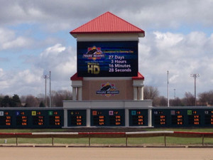A 18'x31' High Definition Daktronics video screen has been installed at Prairie Meadows.