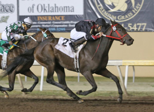 Shotgun Kowboy wins the Clever Trevor Stakes (Photo by Dustin Orona Photography)